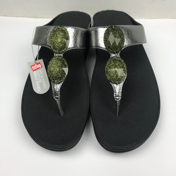 f2a2cee960b1 FitFlop Pierra Pewter Toe Post Silver Sandals
